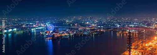 Aerial view of the Osaka Bay harbor area at night - 193579393