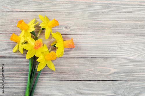 Daffodils kwiaty na drewnianym tle