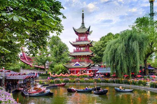 Denmark - Zealand region - Copenhagen city center - historical Tivoli Gardens amusement park - garden attractions