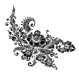 black and white floral ornament in folk style  - 193591308