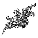 black and white floral ornament in folk style  - 193591309