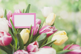 Bouquet of Fresh Tulip Flowers with Blank Note Card