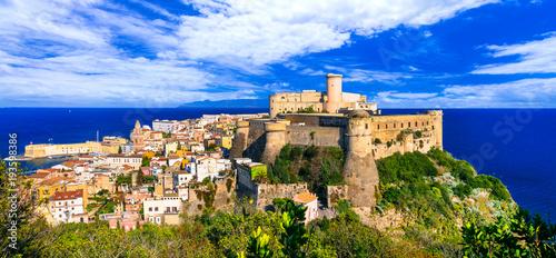Plexiglas Freesurf View of beautiful coastal town Gaeta with Aragonese castle. Landmarks of Italy, Lazio