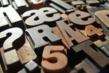 wooden letterpress closeup, various typefaces