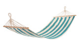a multi-colored hammock made from natural fabric hanging on ropes, white background - 193604780