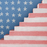 American Flag painted on stairs and wall background - 193605332