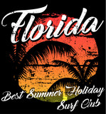Florida - vector illustration concept in vintage graphic style for t-shirt and other print production. Palms; wave and sun vector illustration. Design elements. - 193606365