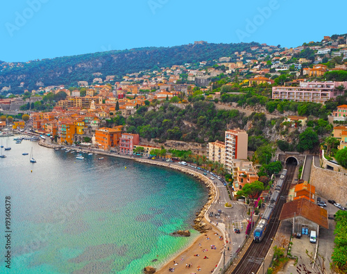 Fotobehang Nice Panoramic view of French Riviera near town of Villefranche-sur-Mer, Menton, Monaco (Monte Carlo), Cote d'Azur, French Riviera, France