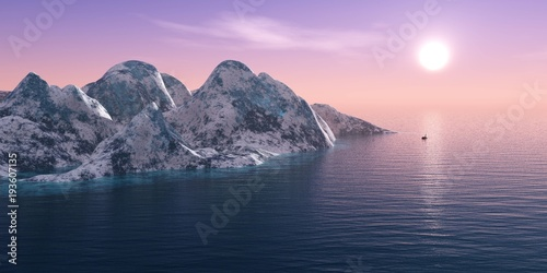 Aluminium Lichtroze Iceberg in the sea, panorama sunset over the ice mountains in the sea