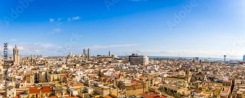 Deurstickers Panoramafoto s Panorama de Barcelone en Catalogne, Espagne