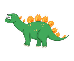Cute cartoon stegosaurus. Vector illustration of dinosaur isolat