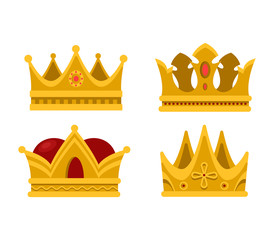 Pope tiara and king crown set of icons