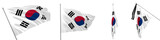 Set of solemn, ceremonial, mourning and evolving flags of South Korea 3d illustration