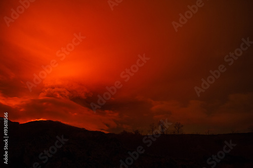 Papiers peints Rouge traffic Volcano eruption landscape at night - Mount Etna in Sicily
