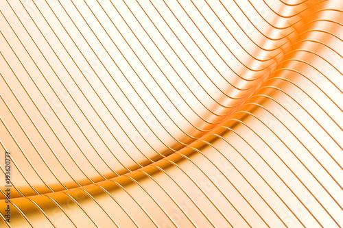 Abstract golden metallic wave background, 3D rendering