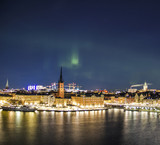 Night panorama with northern lights of Gamla Stan (Old Town), Stockholm , Sweden  - 193632550