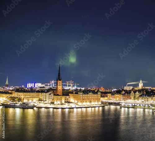 Fotobehang Stockholm Night panorama with northern lights of Gamla Stan (Old Town), Stockholm , Sweden