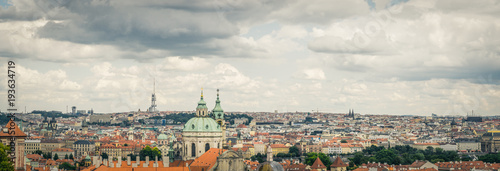 Tuinposter Praag Stormy View of Prague Old Town from Letna Park