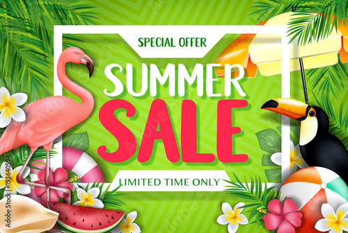 Special Offer Summer Sale Limited Time Only Advertisement Inside the White Frame with Flamingo and Toucan in Yellow Green Patterned Background with Tropical Leaves, Flowers and Other Items - 193640594