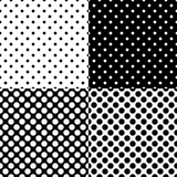 Four different seamless polka dot patterns. Vector illustration.