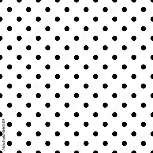 Fototapeta Seamless black polka dot pattern on white. Vector illustration.