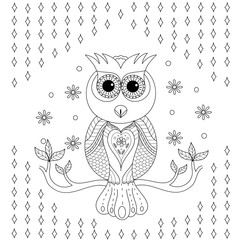 Coloring book of owl for adult.vector illustration. Hand drawn zentangle.