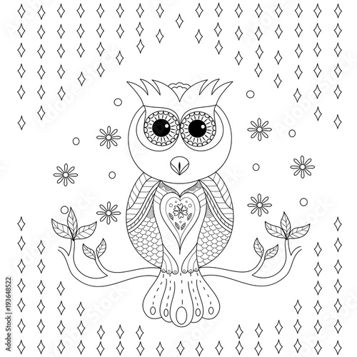 Fotobehang Uilen cartoon Coloring book of owl for adult.vector illustration. Hand drawn zentangle.