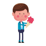 Cute boy with flowers vector illustration graphic design - 193649306
