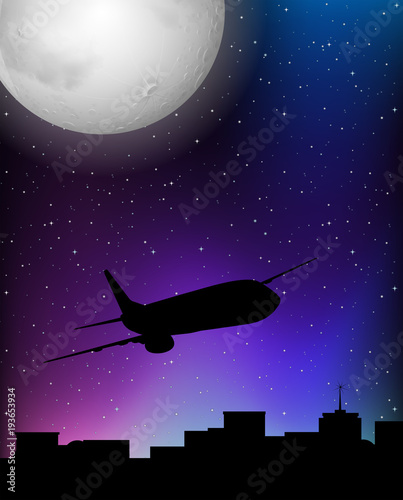 In de dag Violet Silhouette scene with airplane flying at night