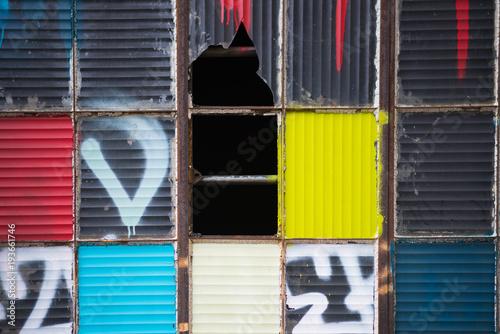 Colourful artsy broken window panes