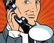 Businessman with blank bubble pop art cartoon vector illustration graphic design