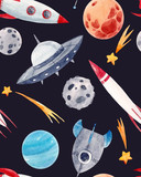 Watercolor Space Baby  Pattern Wall Sticker