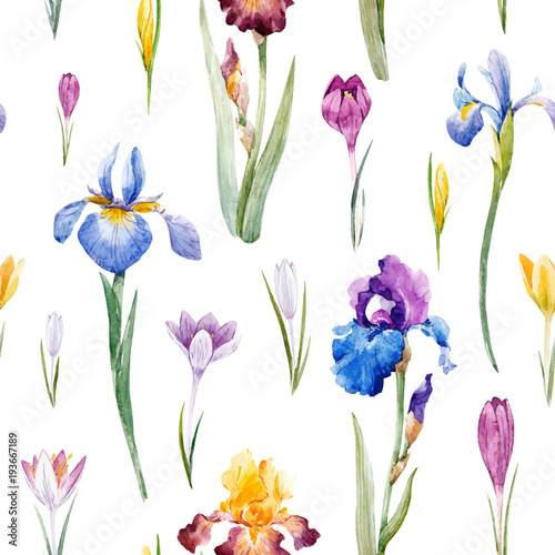 Watercolor floral vector pattern - 193667189