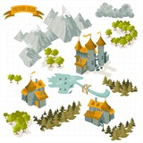 Fototapety Fantasy Adventure map elements and colorful doodle hand draw in vector illustration isolated on white background