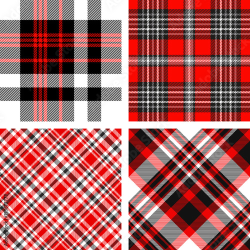 Set Of Four Seamless Tartan Plaid Patterns In Shades Of Red Black