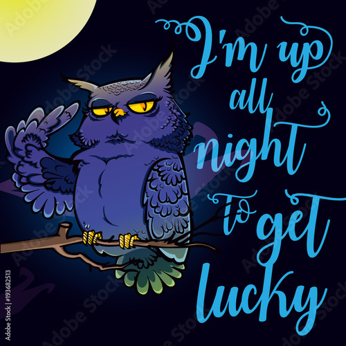 Fotobehang Uilen cartoon Night owl illustration with quote