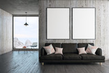 Modern living room with blank poster - 193688534