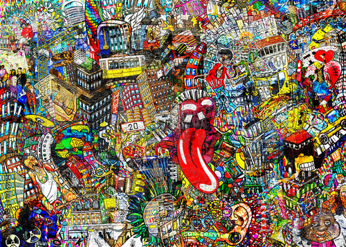 Fototapeta Graffiti, City, an illustration of a large collage, with houses, cars and people