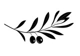 Olive oil label or logo for farm store or market. Olive branch with leaves and olives silhouette. Retro emblem organic olive oil vector illustration isolated on white background.