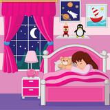 Cartoon little girl sleeping