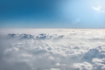 Cloud view through airplane window.