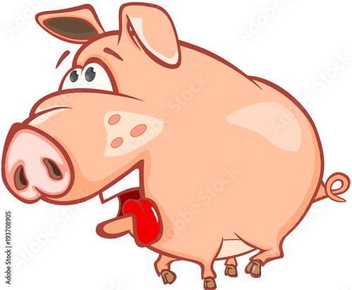 Aluminium Babykamer Illustration of a Cute Pig. Cartoon Character