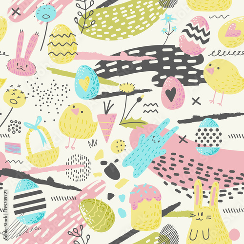 Materiał do szycia Happy Easter Seamless Pattern with Eggs, Bunny and Flowers. Spring Background for Fabric, Wrapping Paper and Greeting Cards. Vector illustration