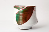Re, green and white raku cup