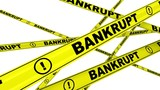 Bankrupt. Yellow warning tapes with inscription BANKRUPT. Footage video - 193724748