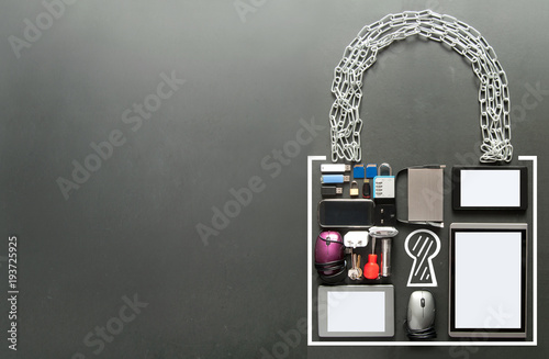 Padlock icon made from devices Poster