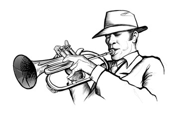 drawing of a musician playing trumpet © Isaxar