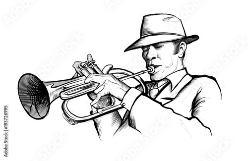 drawing of a musician playing trumpet