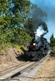Steam Locomotive Running down the Track - 193729796