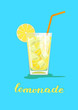 Glass of lemonade. Glass of lemon cocktail with straw on blue background. Vector illustration